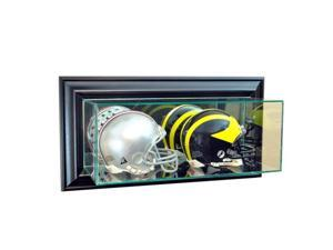 Perfect Cases WMDBMH-B Wall Mounted Double Mini Helmet Display Case, Black