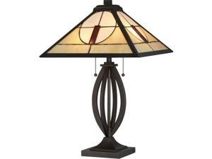 Quoizel TF2041T, Tiffany Small Glass Table Lamp, 2 Light, 130 Total Watts, None Specified