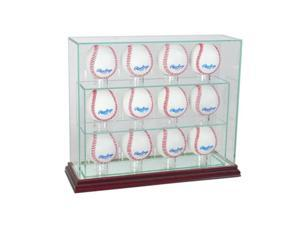 Perfect Cases 12UPBSB-C 12 Baseball Upright Display Case, Cherry