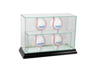 Perfect Cases 4UPBSB-B 4 Upright Baseball Display Case, Black