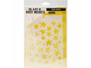 Stampers Anonymous BWS-7 Brett Weldele Stencil Collection 6.5 x 4.5 in. - Stars