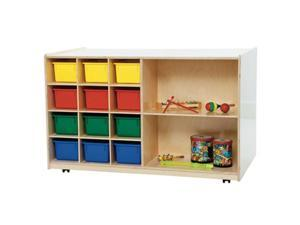Wood Designs 16603AP Double Mobile Storage With 12 Assorted Pastel Trays
