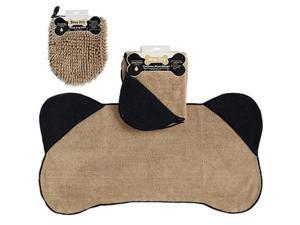 Home Kitchen Black Pet Towel And Taupe Wash Mitt