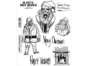Stampers Anonymous BWC014 Brett Weldele Cling Stamps 7 x 8.5 in. - Zombie Santa