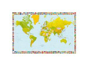 Brewster Home Fashions DM655 Map Of The World Wall Mural - 45 in.