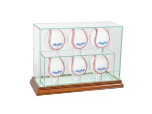 Perfect Cases 6UPBSB-W 6 Upright Baseball Display Case, Walnut