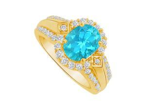 Fine Jewelry Vault UBUNR83760Y149X7CZBT Blue Topaz & CZ Halo Engagement Ring in Yellow Gold, 14 Stones