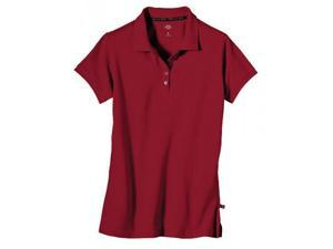 Dickies FS023HD M Womens Solid Pique Short Sleeve Polo Shirt, Cherry Red, Medium
