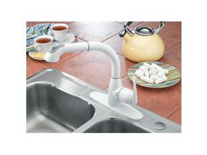 Riverstone Industries CleanFLO M-88W Lily Pull Out Kitchen Faucet - White