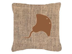 Stingray Burlap and Brown   Canvas Fabric Decorative Pillow BB1095