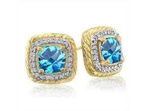 SuperJeweler 14K Rope Design Blue Topaz And Diamond Earrings - Yellow Gold