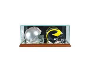 Perfect Cases DBMH-W Double Mini Football Helmet Display Case, Walnut