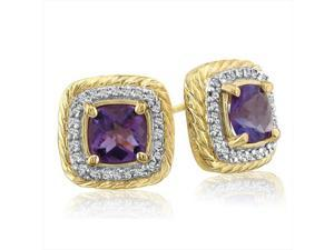 SuperJeweler 14K Rope Design Amethyst And Diamond Earrings - Yellow Gold