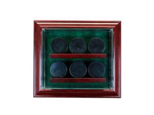 Perfect Cases PC-6PCKCB-C 6 Hockey Puck Cabinet Style Display Case, Cherry