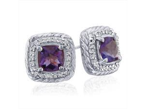 SuperJeweler 14K Rope Design Amethyst And Diamond Earrings - White Gold