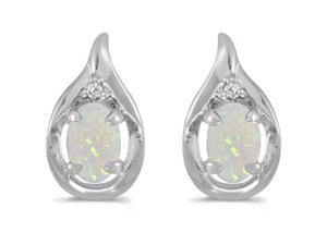 SuperJeweler 14K 0.5 Ct. Opal And Diamond Earrings - White Gold
