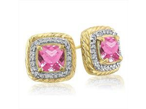 SuperJeweler 14K Rope Design Pink Topaz And Diamond Earrings - Yellow Gold
