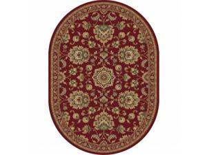Tayse Rugs 4850 Red 5x8 Oval Sensation Oval Traditional Area Rug
