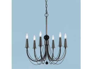 Candice Olson 8448-6H Shelby Metal 6-Candle Base Chandelier, Black Nickel