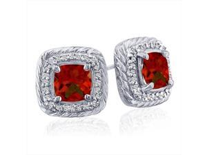 SuperJeweler 14K Rope Design Garnet And Diamond Earrings - White Gold