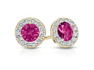 Fine Jewelry Vault UBUERBK200Y14CZPS Created Pink Sapphire and CZ Halo Stud Earrings in 14K Yellow Gold 2.ct.tw