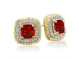SuperJeweler 14K Rope Design Garnet And Diamond Earrings - Yellow Gold
