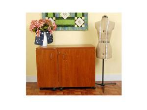 Kangaroo Kabinets Wallaby Sewing Cabinet - Teak With Free Blue Chair