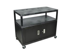 Luxor Flat Shelf Multipurpose AV Home Office Organizer Tuffy Mobile TV Wide Cart With Lockable Storage Cabinet Casters Black