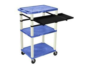 """H. Wilson Multipurpose Mobile Multimedia Tuffy Presentation Cart Side Pull Out Tray Laptop Shelf Blue Putty 42"""""""