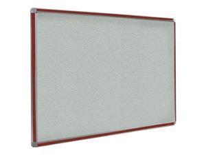 Ghent 3x4 DecoAurora Aluminum Frame Stone Vinyl Tackboard - Mahogany Trim