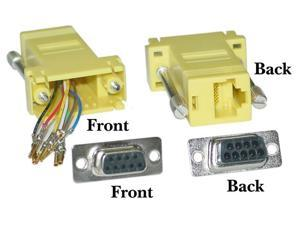 Cable Wholesale DB9 Female / RJ45 Female Modular Adaptor, Yellow