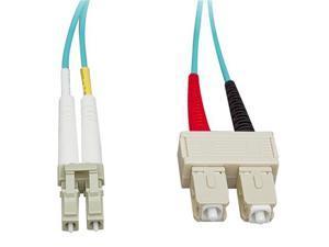 Cable Wholesale LC / SC Multimode Duplex Fiber Optic Cable 10-Gigabit Aqua 50/125 - 10 Meter (33ft)