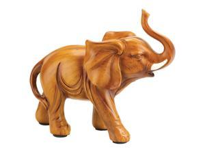 Home Decor Lucky Elephant Bull Figure Wood Look Household Design Collectible Statue Figurine