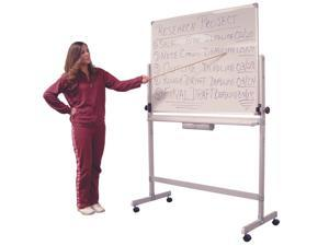 """Luxor L340  48"""" W x 36"""" H Reversible Mobile Magnetic Dry Erase White Board"""