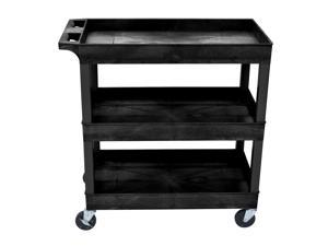 "Luxor Mobile Home Office Kitchen Service Push Handle High Capacity 18""D x 32""W Tub Utility Storage Cart 3 Shelves Black"