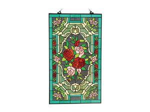 "Amora Lighting Tiffany Style AM1109PN20 Roses Stained Glass 32"" x 20"" Window Panel"