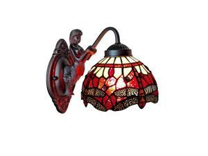 Amora Lighting Home Decorative AM097WL08 Tiffany Style Dragonfly Wall Sconce Lamp Fixture