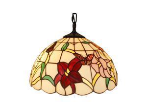 "Amora Lighting AM077HL14 Tiffany Style Floral Hanging Lamp 14"""