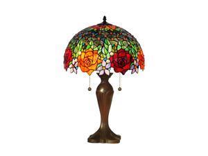 "Amora Lighting AM1534TL16 Tiffany Style Roses Table Lamp 23"""