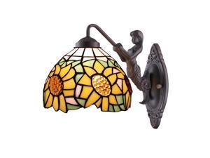 Amora Lighting AM1074WL08 Tiffany Style Sunflower Wall Lamp