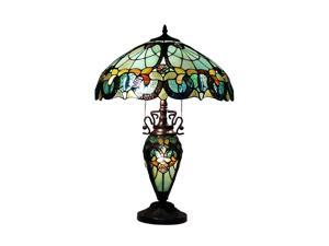 Amora Lighting Tiffany Style AM003TL18 Floral Table Lamp Lighted Base