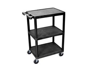 Luxor Multipurpose Serving Storage STC222-B - Flat Shelf Cart - Three Shelves