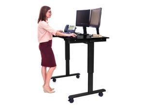 "Luxor Stande 48"" Electric Standing Desk - Black Frame with Black Oak Top"