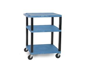 H Wilson WT34E-B Tuffy AV Cart Blue 3 Shelves Black Legs