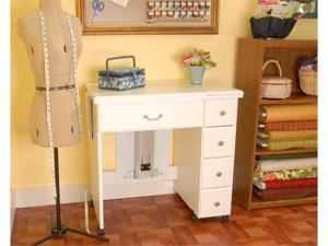 Arrow Sewing Cabinet Auntie Sewing Table with Shelves - White