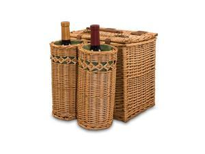 Picnic Time Vino Wine Food Storage Basket With Wine / Cheese Service for Two - Pine Green with Nouveau Grape