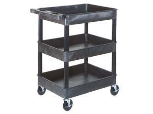 Offex STC111-B Mobile Black Rolling Commercial Heavy-Duty Multi-Purpose Service Utility Cart With 3 Shelf, 4 Casters Black