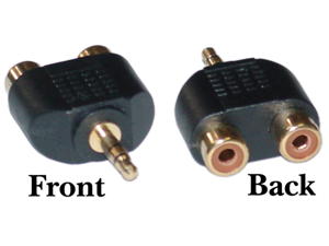 Cable Wholesale RCA to Stereo adapter 2 x RCA Female / 1 x 3.5mm Stereo Male