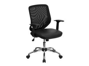 Offex Mid-Back Black Office Chair with Mesh Back and Italian Leather Seat