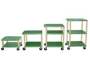 H.Wilson 3 Flat Shelf Rectangular Rolling Adjustable Height Multipurpose Lightweight Service Utility Tuffy AV Cart Casters Green Putty Legs